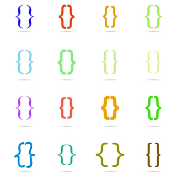Set colored curly bracket icon